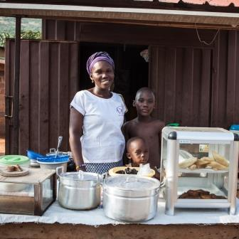 YOWE supported bread baker and food vendor, Mary Agbetey in Odumase.