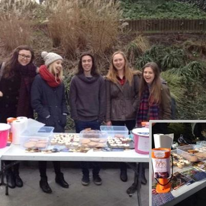 Village Aid Society selling cakes at Sheffield University
